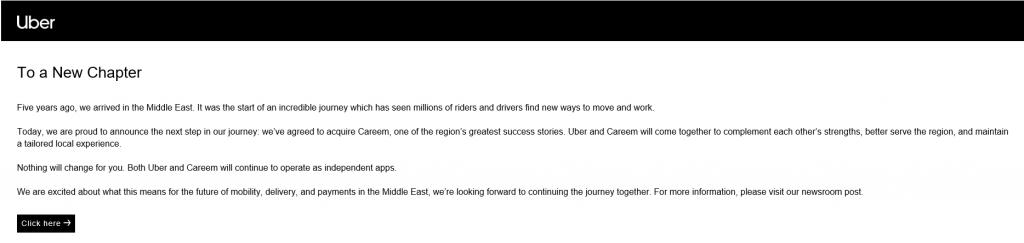 """توصلت أوبر تكنولوجيزاليوم الثلاثاء على اتفاق مع منافستها كريم نتوركسللمضي قدماً بخطط الاستحواذ على """"كريم"""" بهدف دعم خطط التوسع الثنائية وحصد الفرص الإقليمية بالشرق الأوسط."""