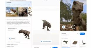 جوجل تطلق ميزة لعرض الديناصورات في العالم الحقيقي باستخدام الواقع المعزز